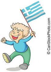 Boy holding flag of Greece