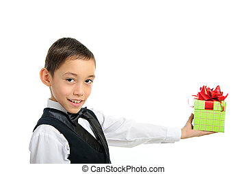 boy holding gift box with bow isolated on white