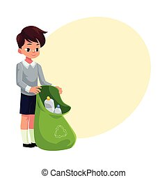 Boy holding green bag of plastic bottles, garbage recycling concept