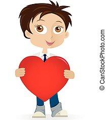 Boy holding heart