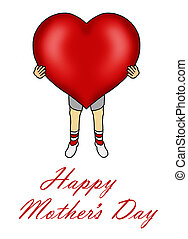 Boy holding heart for Mother's Day