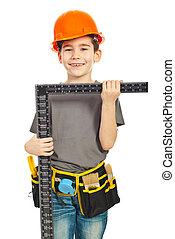 Small boy in uniform and helmet carry a L square ruler isolated on white background