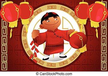 Boy Holding Lantern Celebrating Chinese New Year