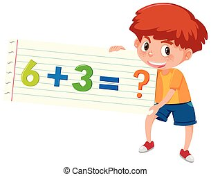Boy holding math question of addition