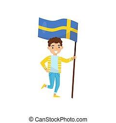 Boy holding national flag of Sweden, design element for Independence Day, Flag Day vector Illustration on a white background