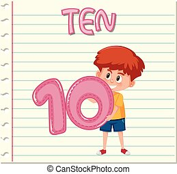 Boy holding number ten on note template