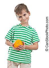 Boy holding oranges isolated on white background