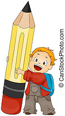 Boy holding Pencil with Clipping Path