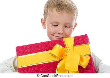 boy holding present box