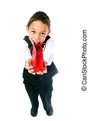 boy holding red bag