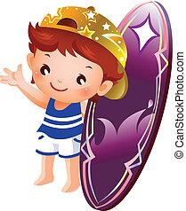Boy holding surf board