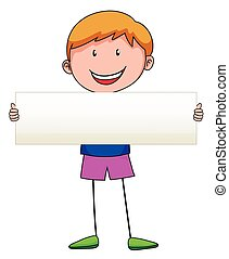 Boy holding white sign