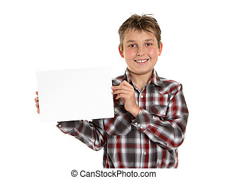 Boy holding your sign award or message