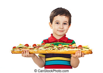 Boy holds a long sandwich