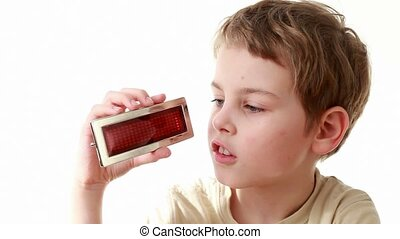 Boy holds an information LED display with word Family