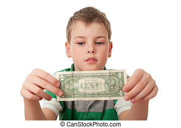 boy holds one dollar in both hands isolated on white...