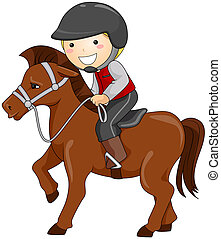 Horseback Riding - Boy Horseback Riding with Clipping Path