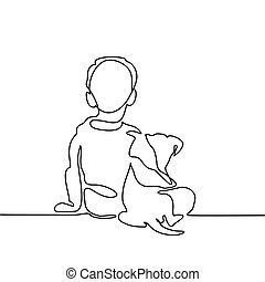 Boy hug dog. Continuous line drawing. Vector illustration