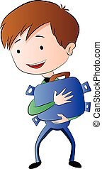 Boy Hugging a Briefcase Full of Money, illustration
