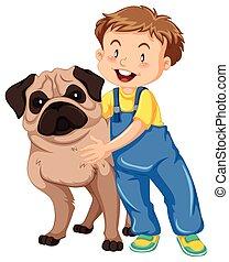 Boy hugging pet dog