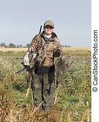 Boy Hunting - Boy out hunting for ducks