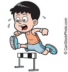 Boy hurdler - Vector illustration of Boy hurdler