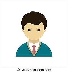 Boy icon, avatar symbol isolated on white