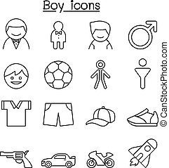 Boy icon set in thin line style
