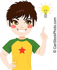 Boy Idea Light Bulb - Concept illustration of young teenager...