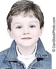 Boy Illustration In Denim Jacket