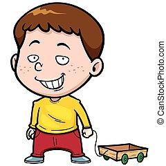 Boy - Vector illustration of Cartoon boy with Wood trolley
