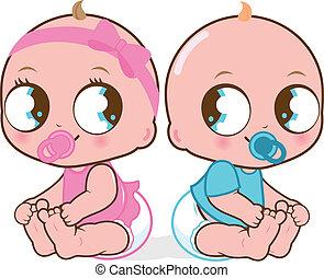 boy., ilustración, gemelo, vector, bebé, babies., niña