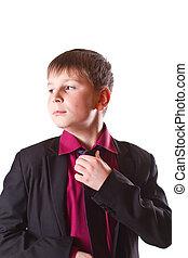 boy in a black jacket