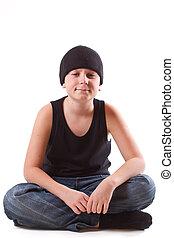 boy in a black T-shirt