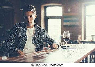 boy in a caf?