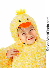 Boy in a chicken costume - a young boy is dressed up in a...