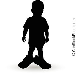 boy in a fathers shoes vector illustration silhouette