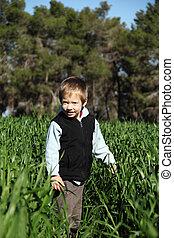 boy in a green field