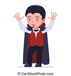 Boy in a Halloween vampire dracula costume