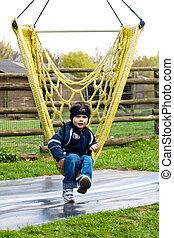 Boy in a hammock