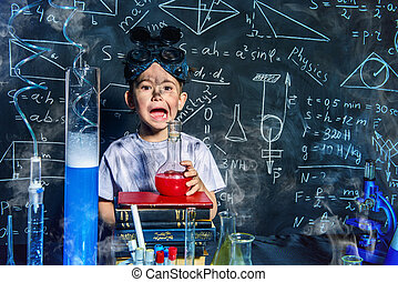 boy in a laboratory