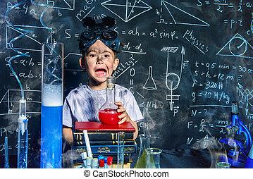 boy in a laboratory