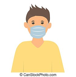 boy in a medical mask to protect against the virus. Vector illustration of health care people.