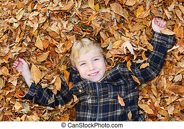 Boy in a pile of leaves