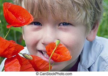 Boy in a poppy field