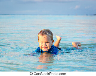 Boy in a sea