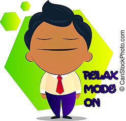Boy in a suit with curly hair says relax mode on, illustration, vector on white background.