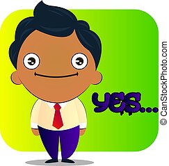 Boy in a suit with curly hair says yes, illustration, vector on white background.