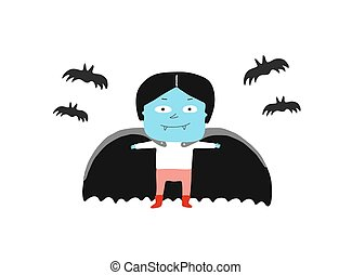 Boy in a vampire costume and bats
