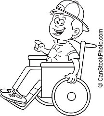 Black and white illustration of a boy in a wheelchair